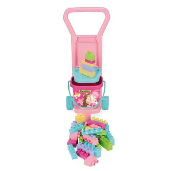 Wózek z klockami różowy